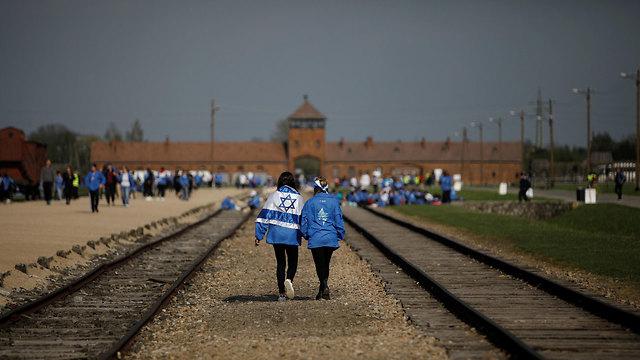Jóvenes judíos en la Marcha por la Vida, en Auschwitz.