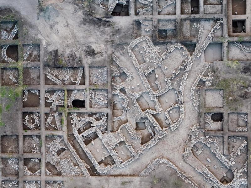 Fotografía aérea del sitio de excavación