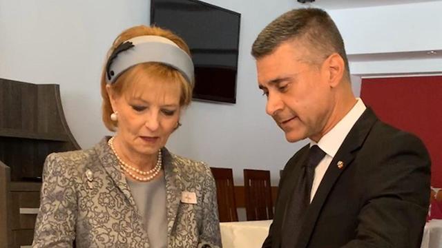 El embajador David Saranga con la princesa Margarita