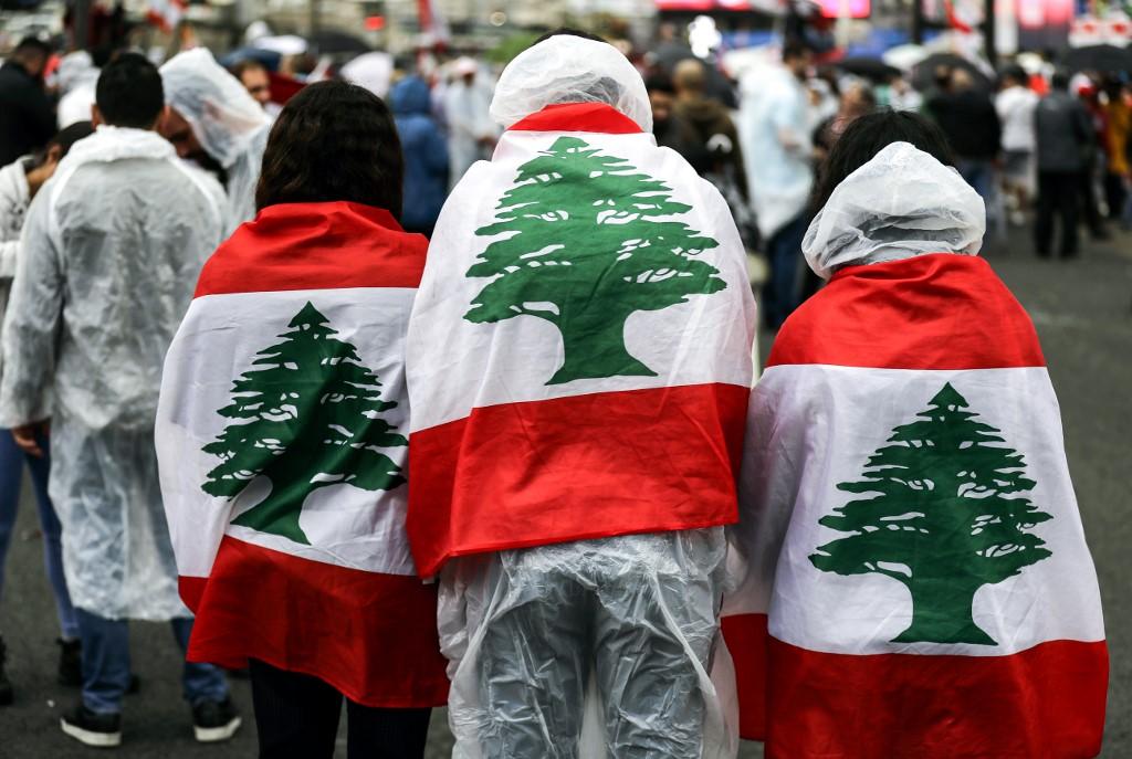 Manifestantes en el Líbano