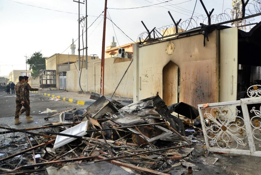Destrucción en Irak por las protestas