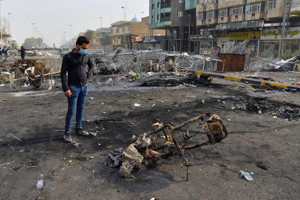 Destrozos en las calles de la ciudad de Najaf