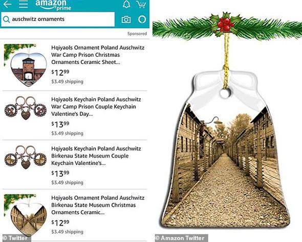 Decoraciones navideñas con la imagen del campo de exterminio de Auschwitz en Amazon