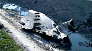 Restos del avión ucraniano derribado por el ejército iraní