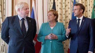 Boris Johnson, Angela Merkel y Justin Trudeau.