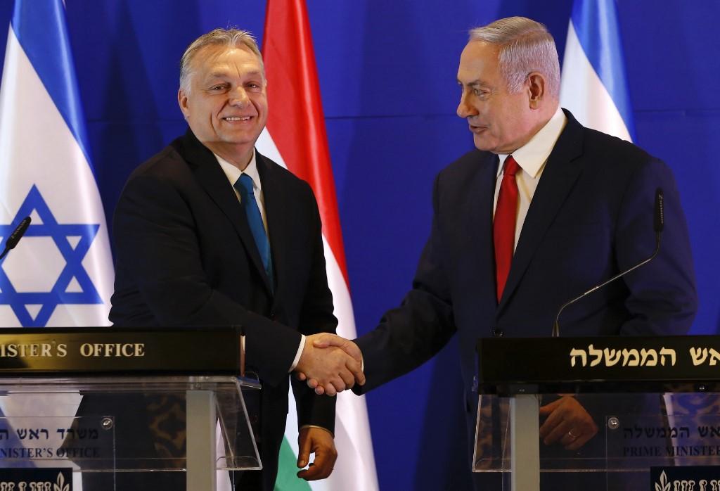El primer ministro húngaro junto a Benjamín Netanyahu