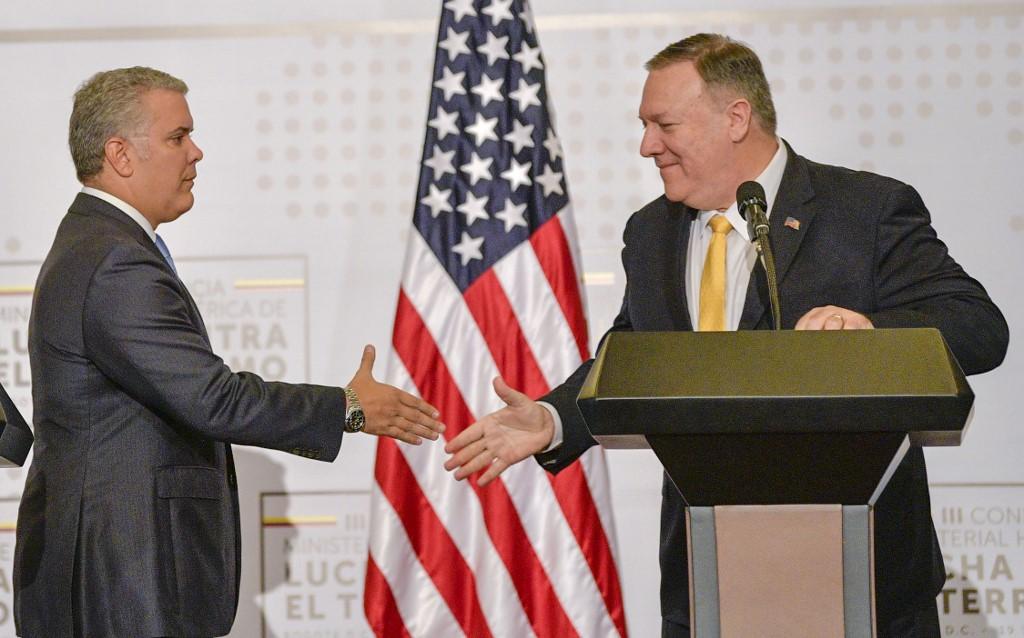 Duque recibe el saludo de Pompeo, secretario de Estado de EE.UU.