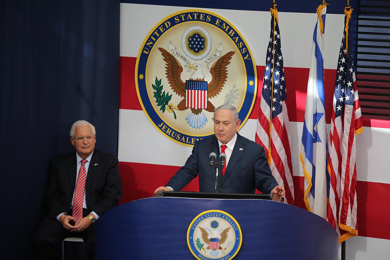 Benjamín Netanyahu y el embajador de los Estados Unidos, David Friedman, en la inauguración de la embajada estadounidense en Jerusalem