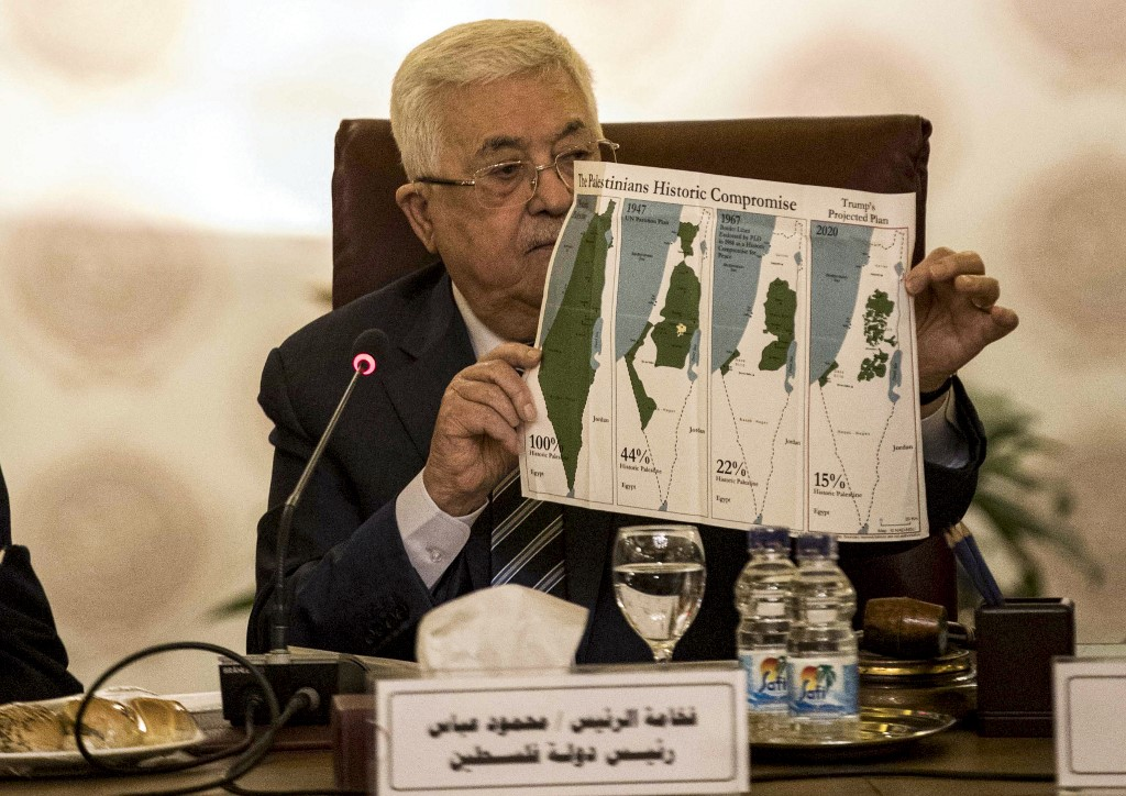 Mahmoud Abbas en El Cairo durante la reunión de la Liga Árabe