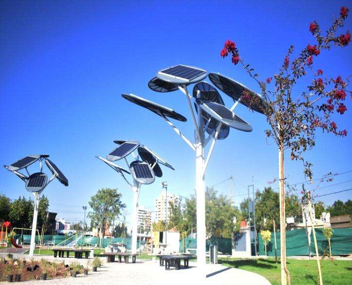 Los árboles solares inteligentes instalados en Mendoza, Argentina