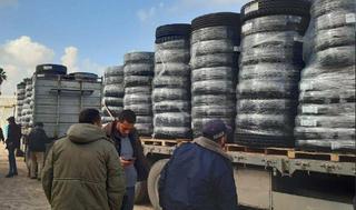 Envíos de neumáticos desde Israel hacia Gaza.