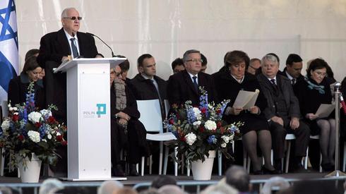 El presidente Reuven Rivlin hablando en la ceremonia de inauguración del museo POLIN