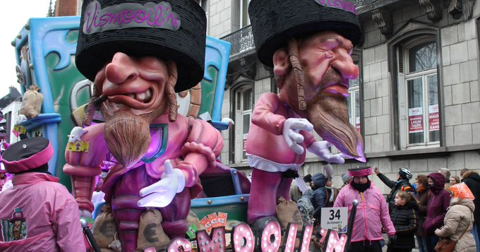 Caricaturas antisemitas en el carnaval 2019 en Aalst, Bélgica