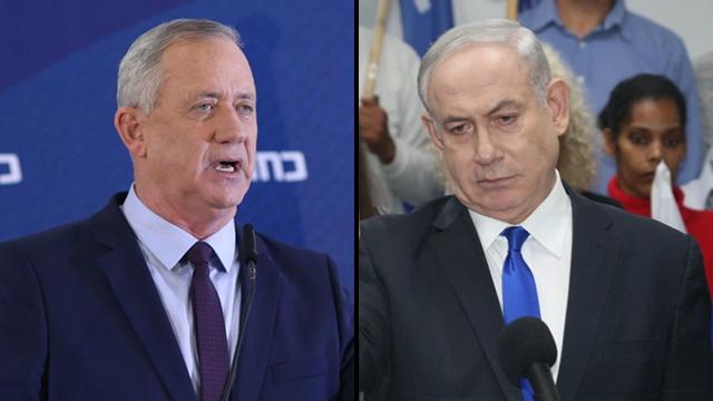 Los líderes de Kajol Laban y el Likud, Gantz y Netanyahu