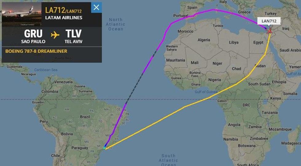 El recorrido actual del vuelo San Pablo-Tel Aviv demora dos horas más porque debe bordear la costa africana