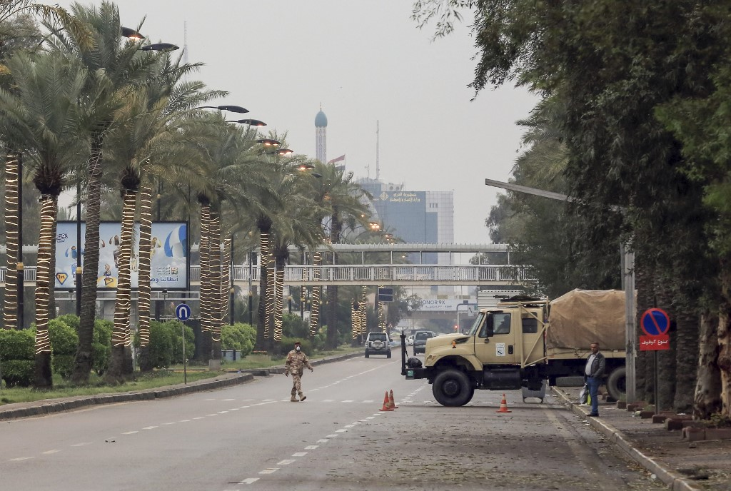 Las calles vacias cuando comienza el toque de queda en Bagdad, Irak
