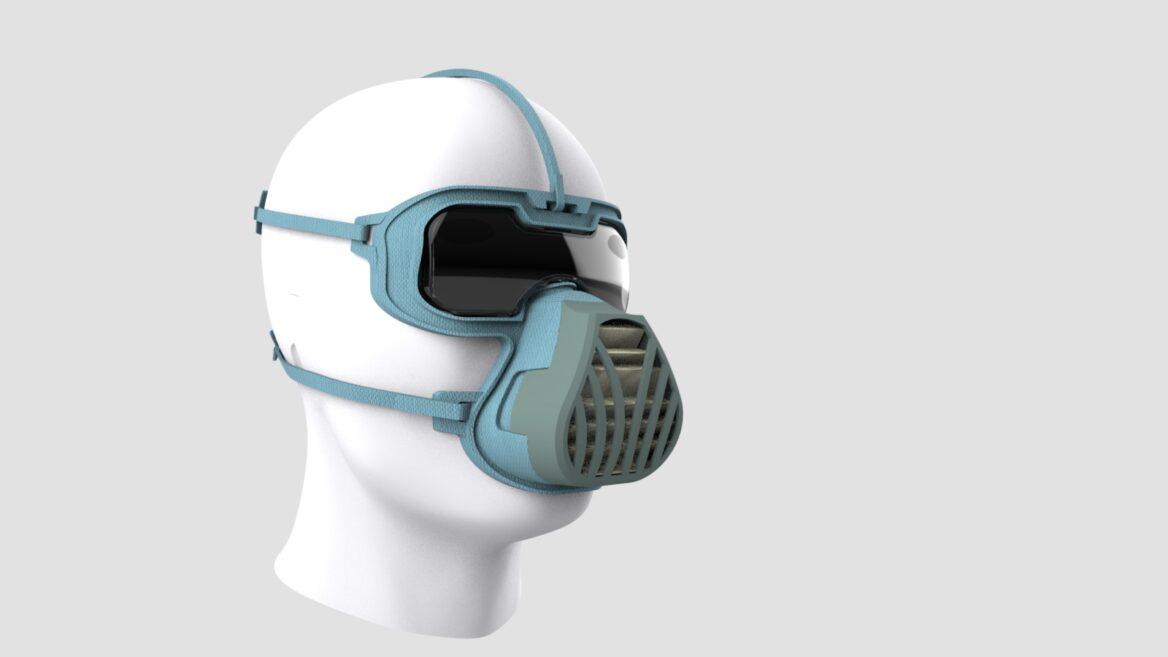 Prototipo de la máscara ViriMASK de Israel que incluye una ventilación