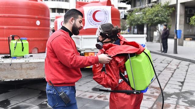 Operativo de desinfección en Damasco.