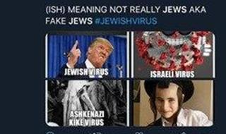 Captura de pantalla de expresiones antisemitas en las redes.