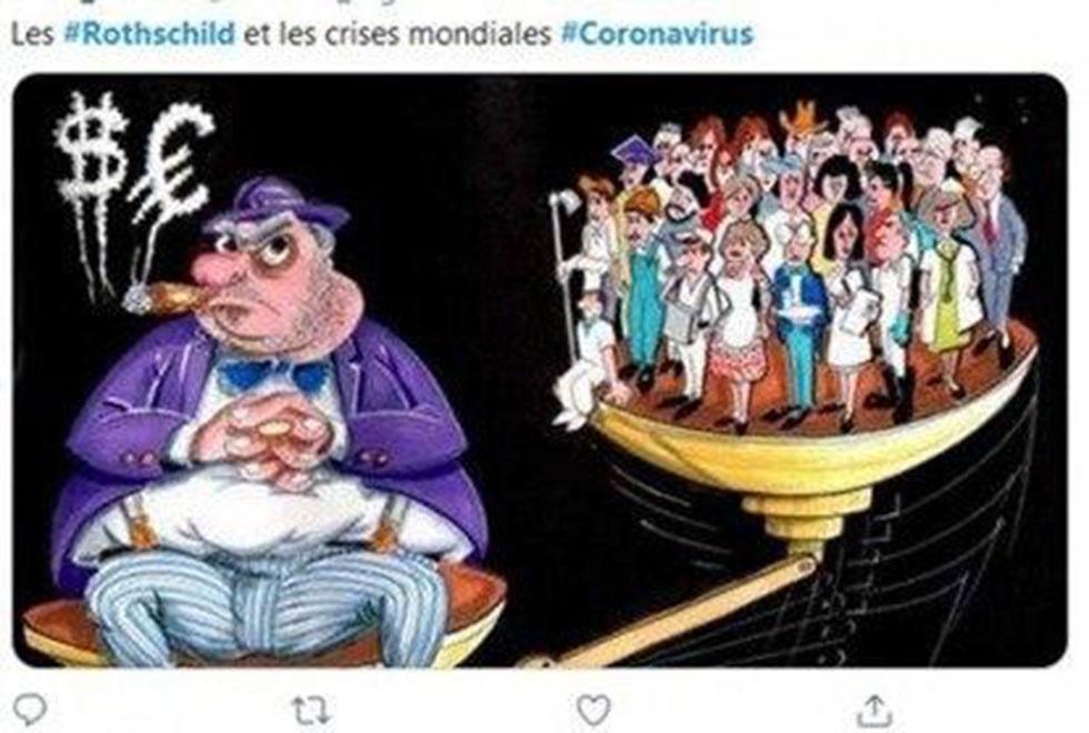 Caricatura de empresarios judíos señalados como beneficiados por la crisis del coronavirus.