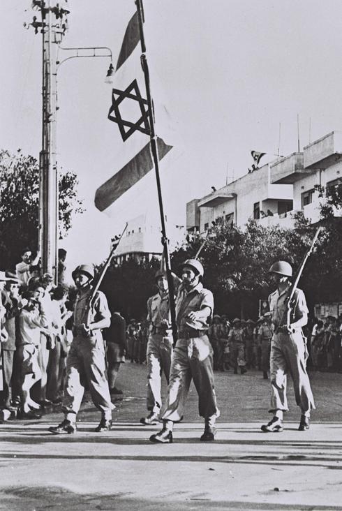 Infantería en el Desfile de la Independencia en Tel Aviv, 1949.