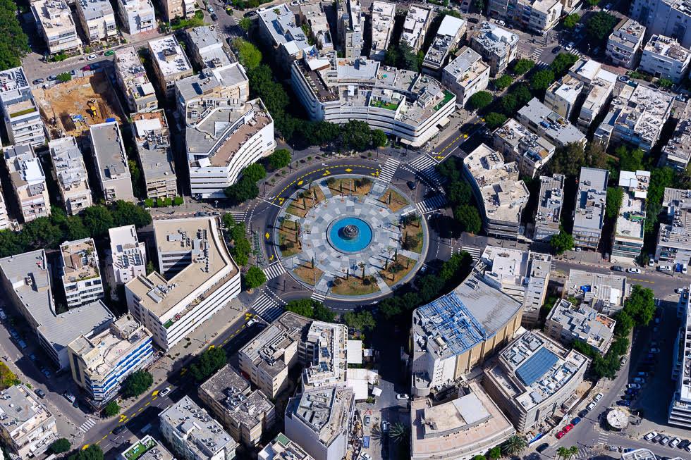 La plaza Dizengoff de Tel Aviv y sus alrededores.