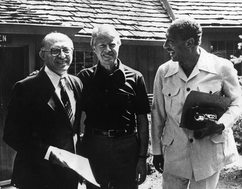 Anwar el-Sadat, Jimmy Carter y Menachem Begin en Camp David, 1978
