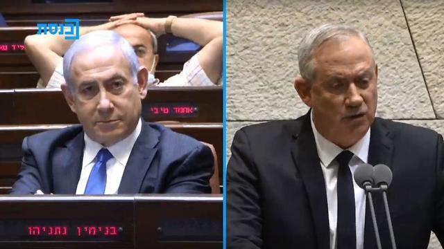 Benjamín Netanyahu y Benny Gantz durante la oficialización del nuevo gobierno de unidad.