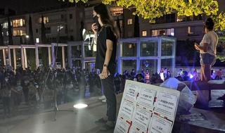 Foto de la marcha contra la violencia de género en Tel Aviv.