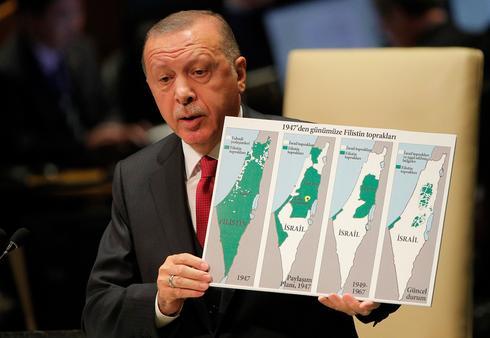 O presidente turco critica Israel durante um discurso na ONU em setembro de 2019.