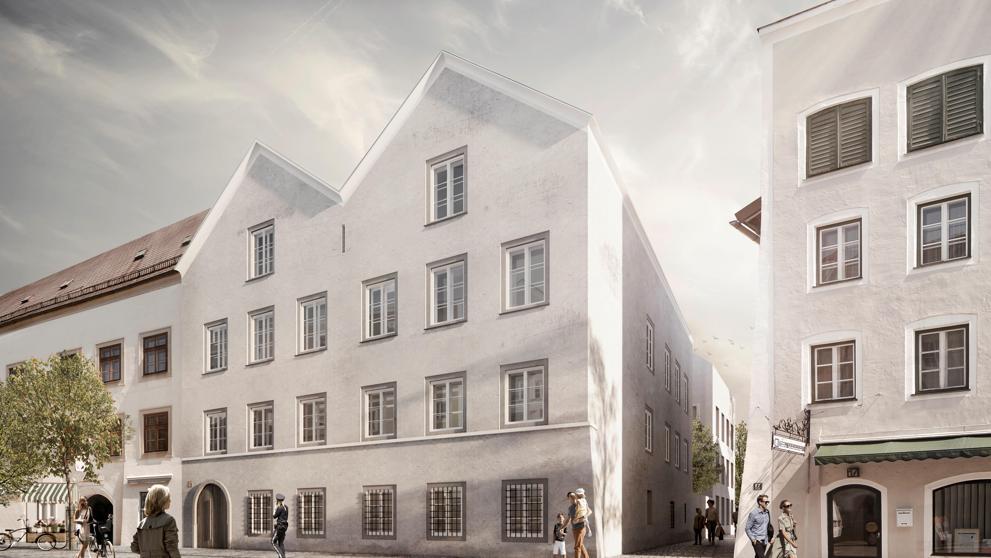 Fotografía del proyecto elegido por el gobierno austríaco para remodelar la casa donde nació Adolf Hitler y transformarla en una comisaría.
