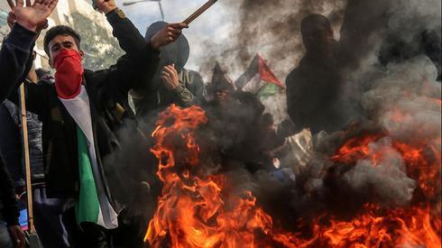 Palestinos protestam em Gaza contra o plano de paz de Donald Trump