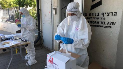 Pruebas de coronavirus en el sur de Tel Aviv.
