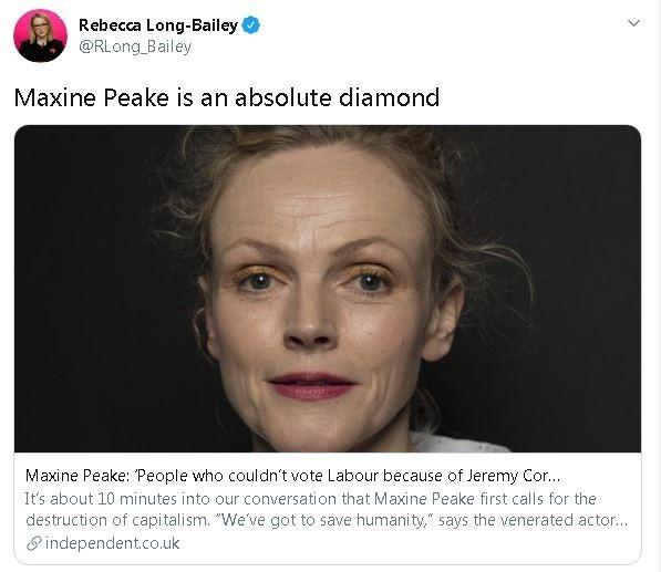 El tweet de Rebecca Long-Bailey.