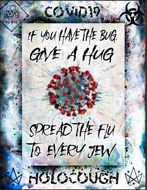 """Imagen publicada en las redes sociales, en la que aparece la expresión """"Holocontos"""" (""""Holocausto"""" y """"tos""""), y se dice que los judíos propagan el coronavirus tosiendo."""