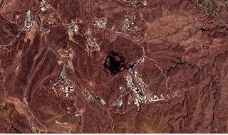 El área de la explosión del viernes en una imagen satelital.