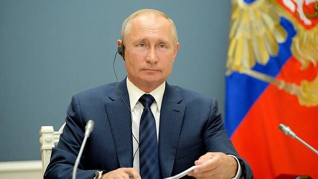 El presidente ruso, Vladimir Putin, durante la reunión virtual con sus homólogos de Irán y Turquía.