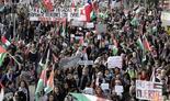 Masiva manifestación antiisraelí en Chile en 2014.