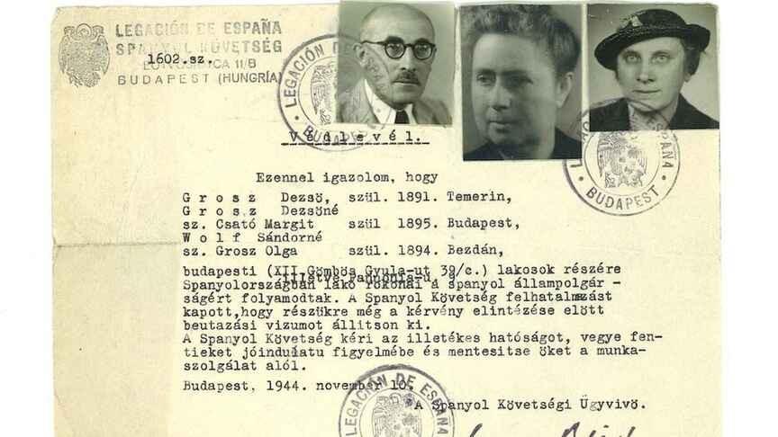 Una de las cartas de protección expedida por Sanz Briz a una familia judía húngara