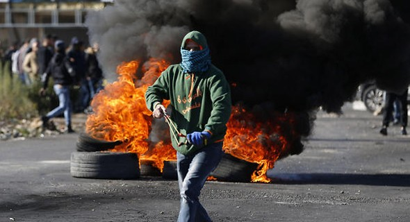Manifestante palestino en Ramalla.