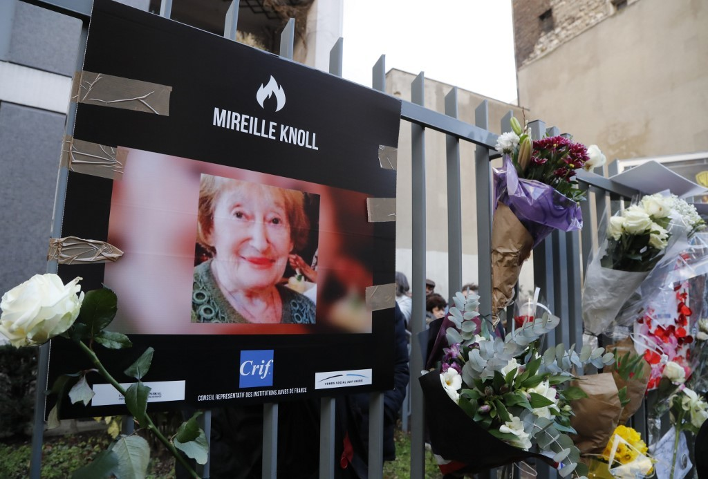 Homenaje a Mireille Knoll tras su asesinato en París en 2018.