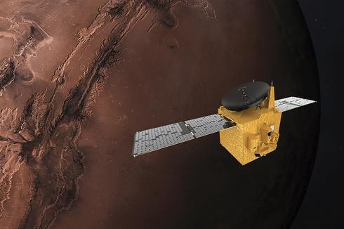 """Renderización de la sonda """"Al Amal"""" orbitando alrededor de Marte."""
