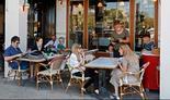 Un restaurant en Tel Aviv abierto en medio de la pandemia.