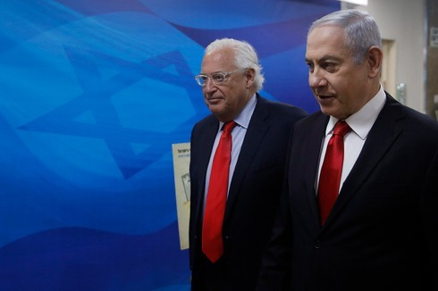 El embajador de Estados Unidos en Israel, David Friedman, junto al primer ministro Benjamín Netanyahu.