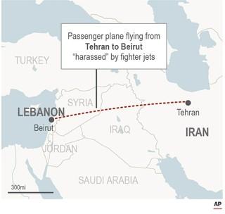 El mapa muestra el camino entre Teherán y Beirut donde un avión de combate fue acusado de acosar un avión de pasajeros.