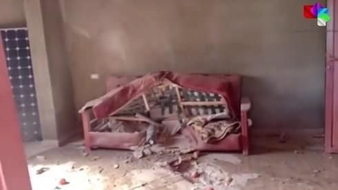 Un sillón destruido cuya imagen fue difundida por medios sirios