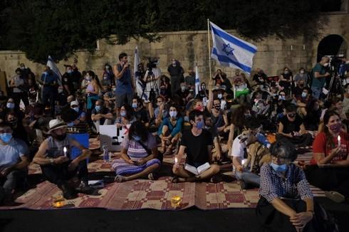Protesta en Jerusalem, frente a la residencia del primer ministro.