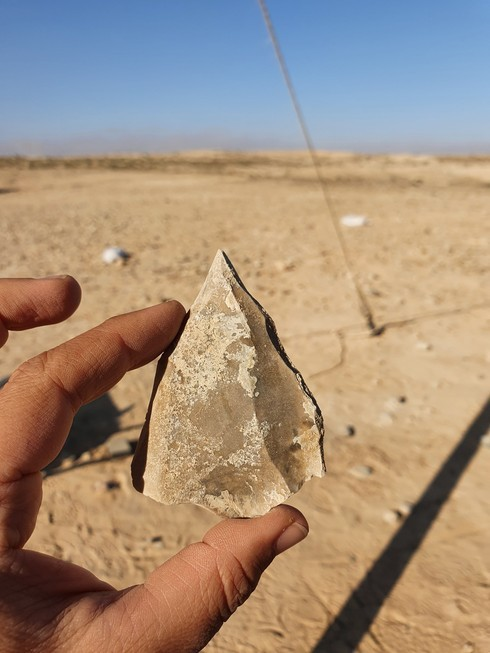 Una de las herramientas de sílex encontradas en el sitio.