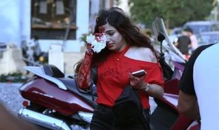 Una mujer herida en Beirut.