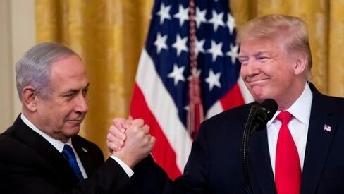 El primer ministro Benjamin Netanyahu y el presidente Donald Trump durante el anuncio del plan de paz.